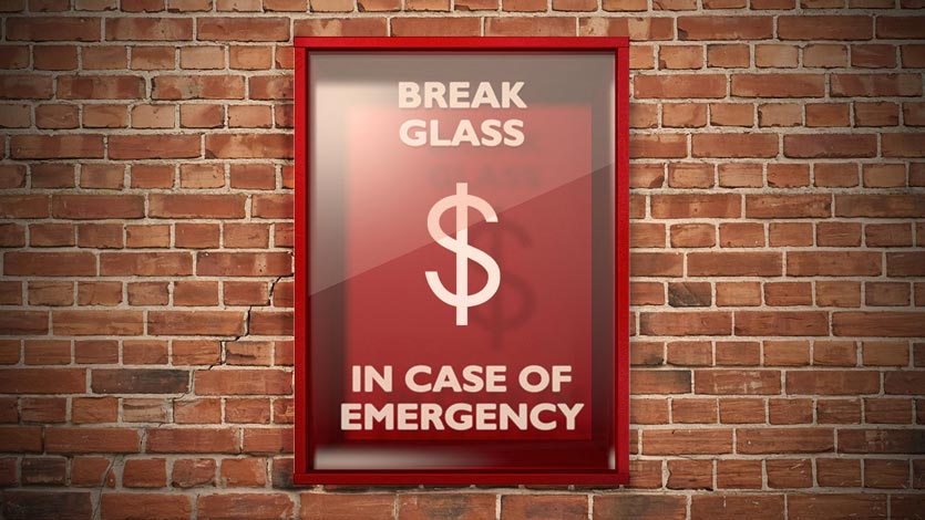dollar sign in a glass case labeled 'break glass in case of emergency' as if it was a fire alarm