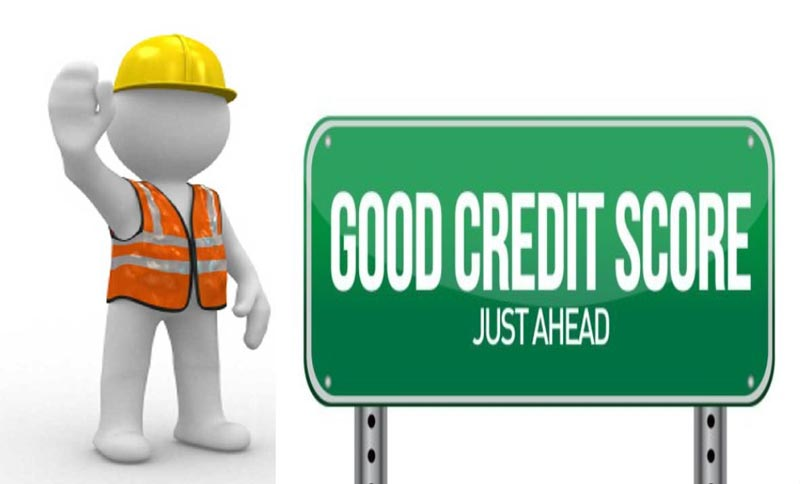 "Stick figure next to a sign that says ""Good Credit Score Just Ahead"""