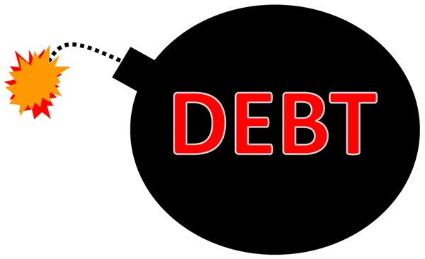 "a cartoon bomb with the word ""debt"" on it"
