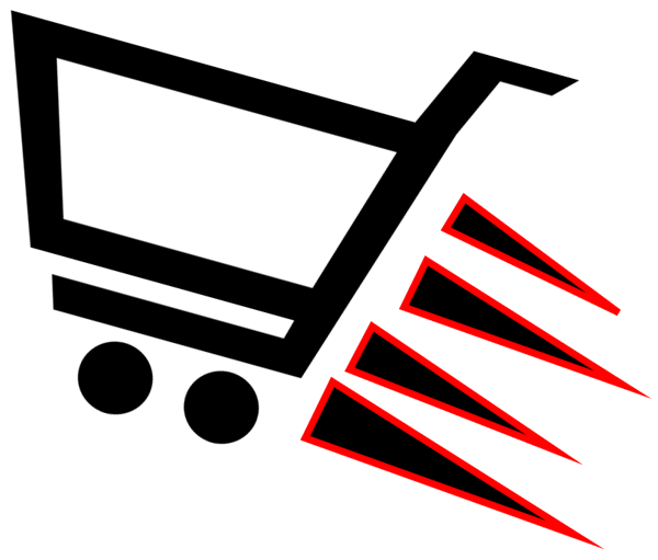 a simple drawing of a shopping cart traveling a great speed